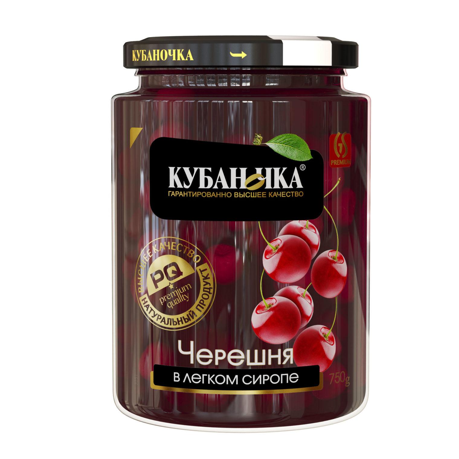Черешня красная в легком сиропе, Масса: 750 г
