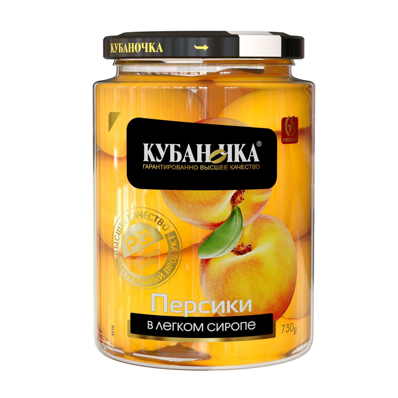 Персики в легком сиропе, Масса: 730 г