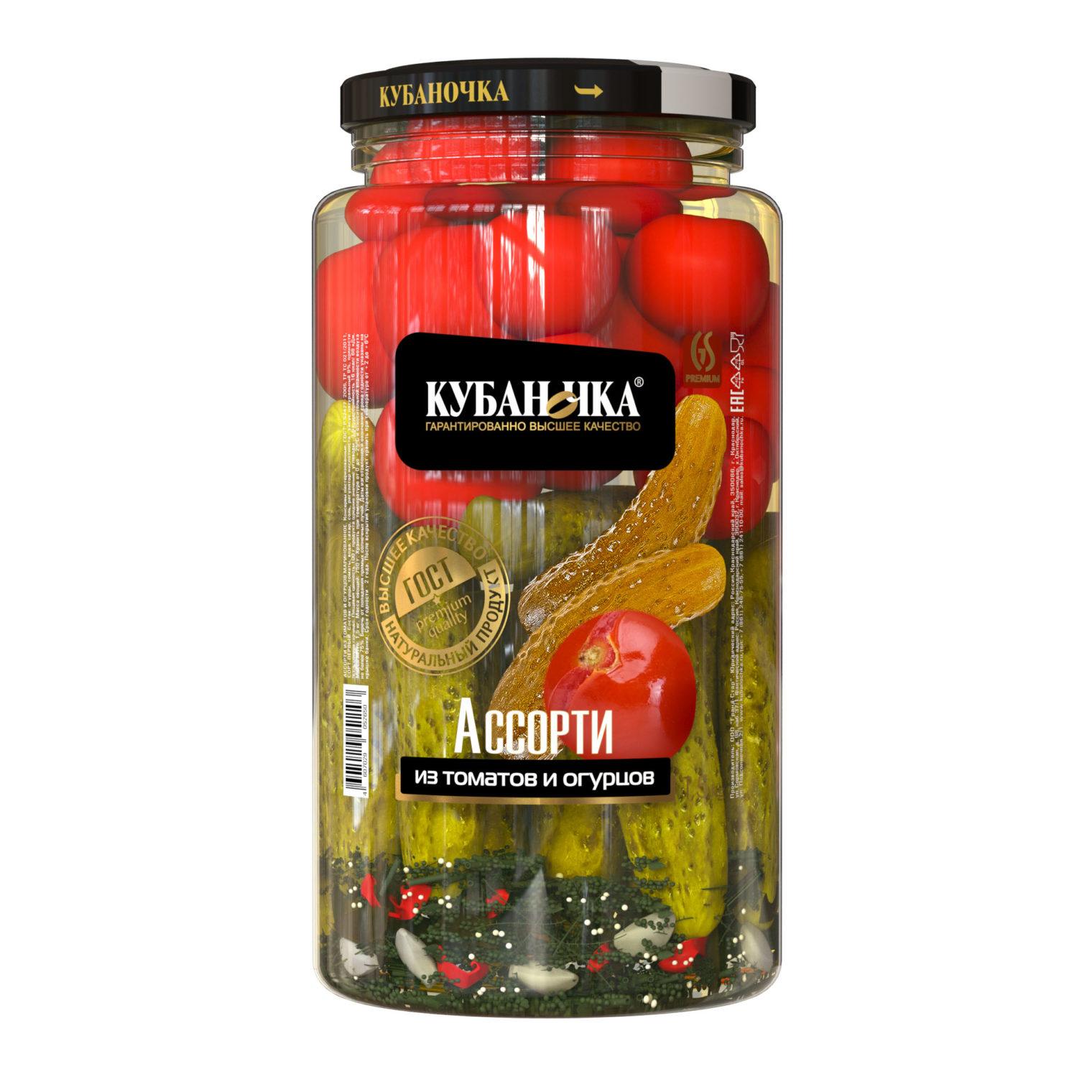 Ассорти из томатов и огурцов, Масса: 1,5 кг