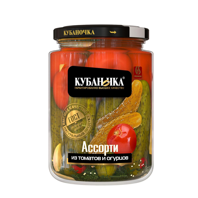 Ассорти из томатов и огурцов, Масса: 720 г
